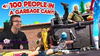 What happens when 100 people jump in a Garbage Can?!