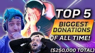 5 BIGGEST TWITCH DONAṪIONS OF ALL TIME ($250,000 TOTAL)