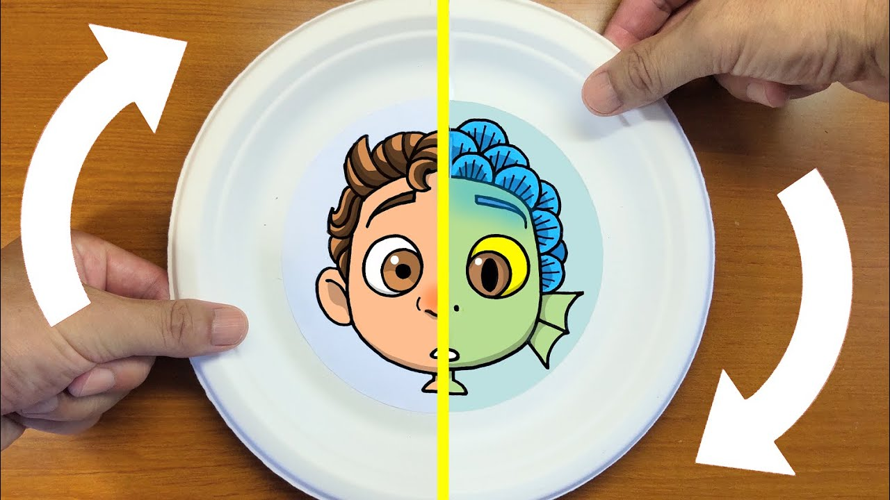 Funny Things!LUCA(Disney & Pixar)Face Changer Paper Plate Craft DIY Ideas with How to draw Luca