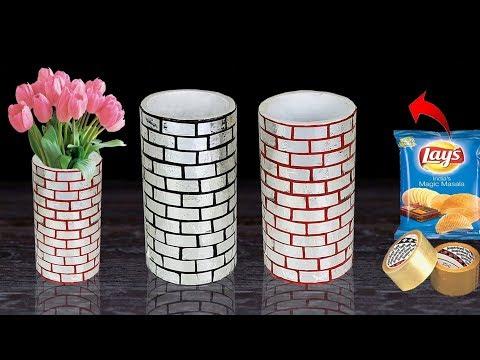 Flower vase making with Best out of waste // Paper roll flower vase