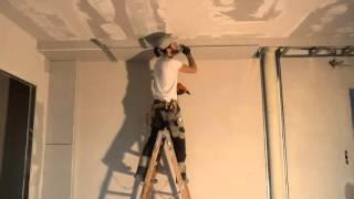 видео Как крепить гипсокартон к потолку