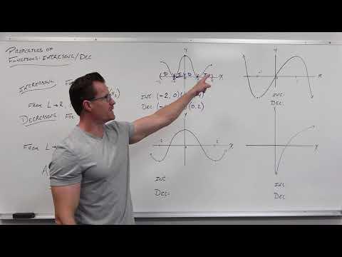 Properties of Functions - Increasing vs Decreasing (Precalculus - College Algebra 9)