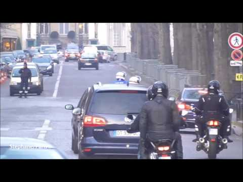 The motorcycle police escort the new French Minister of the Interior.