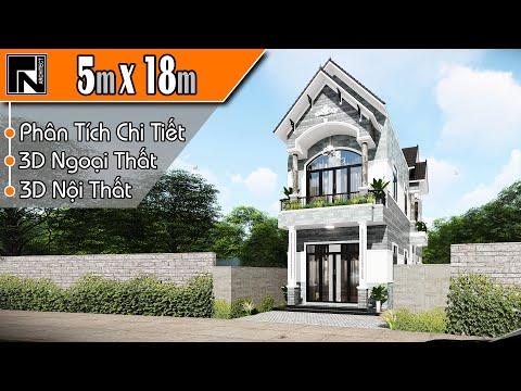 Mẫu nhà ống 2 tầng đẹp 4 phòng ngủ 5x18m | TNA103