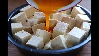 Tofu with 2 eggs, the cooking method is very simple,the nutrition is rich and the taste is better