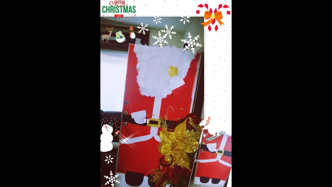 Diy como decorar puerta navide a de santa claus youtube for Como decorar una puerta