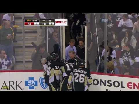 Jordan Staal Takes A Puck To The Face (12-21-2009)