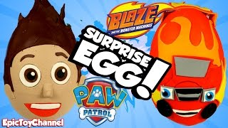 SURPRISE EGGS Blaze and the Monster Machines VS Ryder from Paw Patrol + Disney Cars Toys Surprise