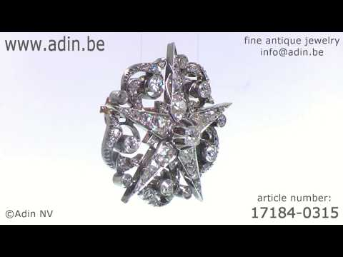 French Victorian antique star brooch old mine brilliant cut diamonds. (Adin reference: 17184-0315)
