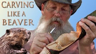Hand Carved North American Beaver Walking Stick
