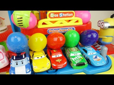 Cars station and surprise eggs car toys play