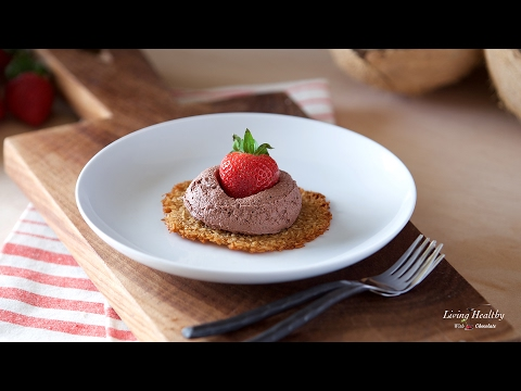 Coconut Tuiles with Fresh Strawberries and Dairy-free Chocolate Whipping Cream (Paleo, Vegan)