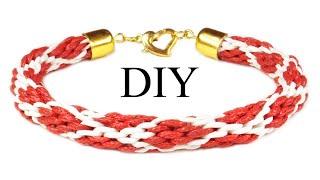 DIY: Kumihimo bracelet ❤ Heart ❤ / Браслет