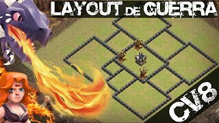 LAYOUT DE GUERRA CV8 [GOWIVA,HOGS E DRAGÕES] MELHOR LAYOUT DE WAR QUE USEI NO CV8 [CLASH OF CLANS]