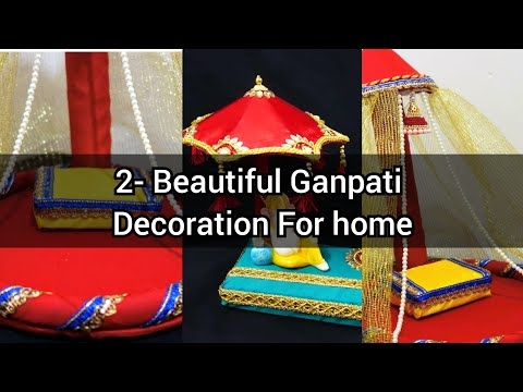 2-Decoration Ideas for Ganesh Chaturthi at home | GANPATI DECORATION IDEAS | Ganesh Makhar/Mandap