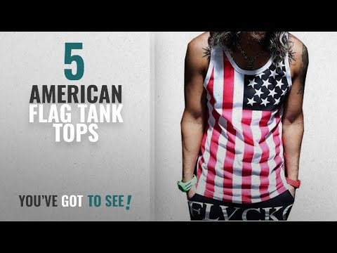 Top 10 American Flag Tank Tops [Winter 2018 ]: ZAWAPEMIA Mens American Flag Print Wave Tank Top L