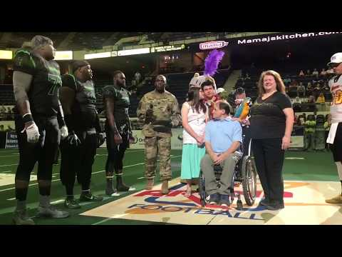 Petty Officer Scott George Spencer recieves recognition certificate at Roughriders game! (5.27.17)