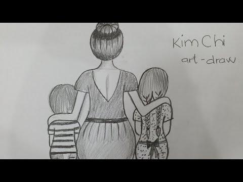Vẽ hình về TÌNH MẸ bằng bút chì – How to Draw Mother's Love with pencil l Kim Chi Art & Draw