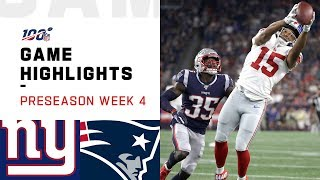 Giants vs. Patriots Preseason Week 4 Highlights | NFL 2019