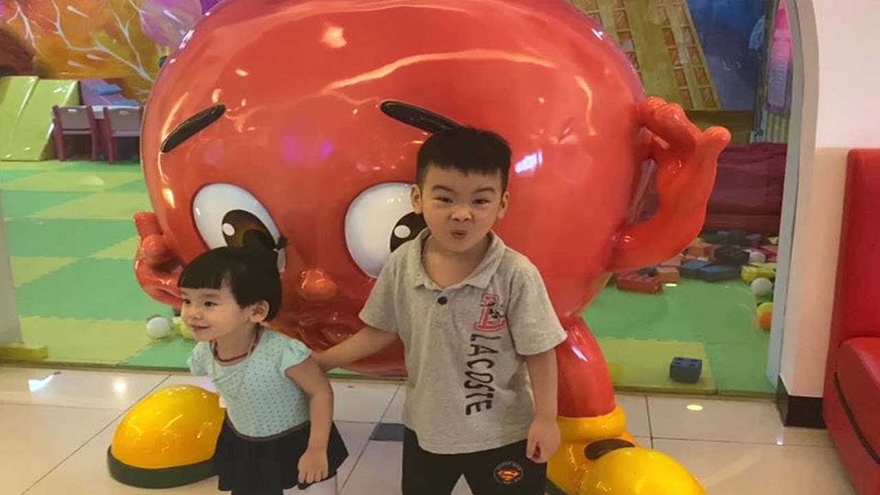 Indoor playground for kids with baby boys and girl cute playing toy color  Nursery rhymes for babies