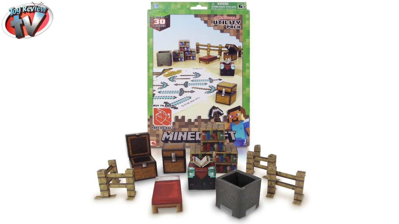 Papercraft Minecraft: Overworld Utility Pack Papercraft Toy Review, Jazwares