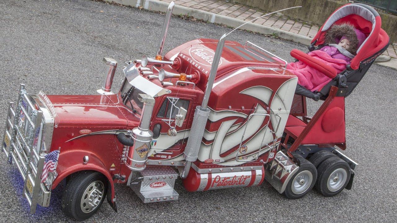 TruckModel Peterbilt RC amazing stroller for my baby-girl - YouTube
