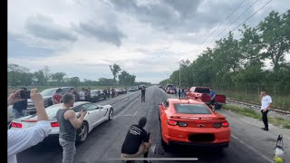 HEADS/CAM CAMARO SS VS SUPERCHARGED C7 CORVETTE! ROLL AND DIG RACING