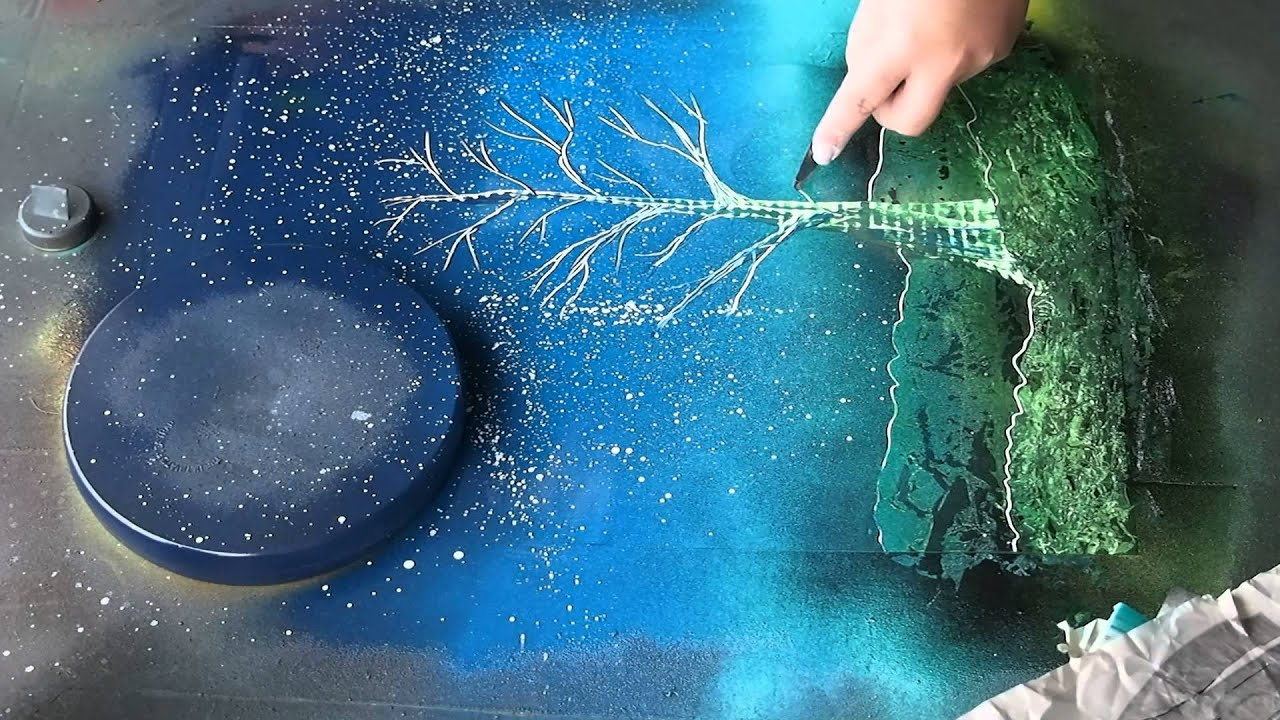 Spray Paint Art Tree And Sun Asmr Youtube