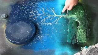 Spray Paint Art: Tree and Sun: ASMR?