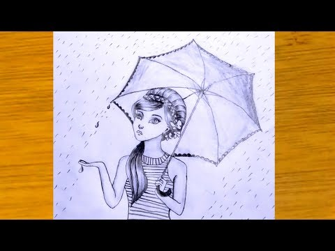 how-to-draw-a-girl-with-umbrella-(rain-scenery)-pencil-sketch---step-by-step.