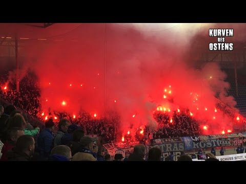 1. FC Magdeburg 1:1 FC Hansa Rostock 05.11.2016 | Pyro & Support