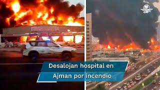 Un incendio se desató este miércoles en el mercado de Ajman, en Emiratos Árabes Unidos, por lo que un hospital fue desalojado por precaución