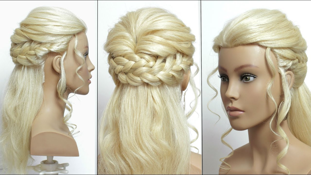 Easy Prom Hairstyle For Long Hair With French Braids - YouTube