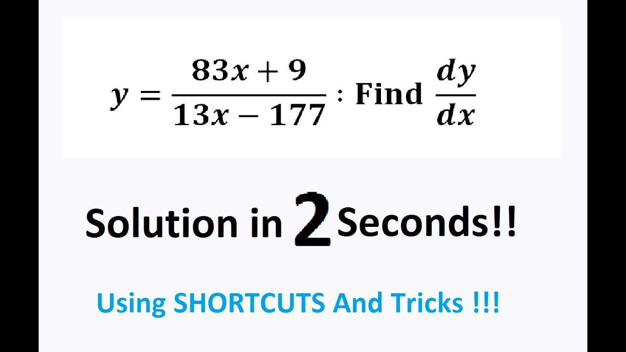 CALCULUS Fast Shortcuts For Differentiation and Integration : Class 12