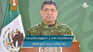 El secretario de la Defensa Nacional, general Luis Cresencio Sandoval informó que en Yucatán es un estado seguro con una incidencia delictiva muy reducida y que presenta una tendencia a la baja en la mayoría de los delitos
