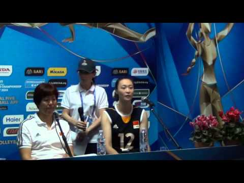 23-09-2014: barivolley2014 - Press conference after China-Puertorico - Hui Quoqi