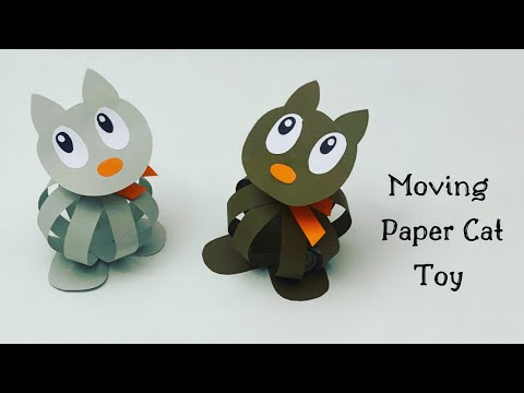 How To Make Moving paper cat toy For Kids / Nursery Craft Ideas / Paper Craft Easy / KIDS crafts