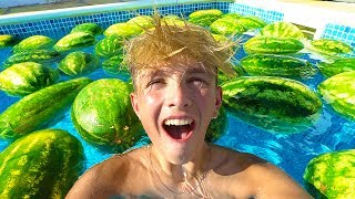 FILLING MY POOL WITH 100 WATERMELONS!!!