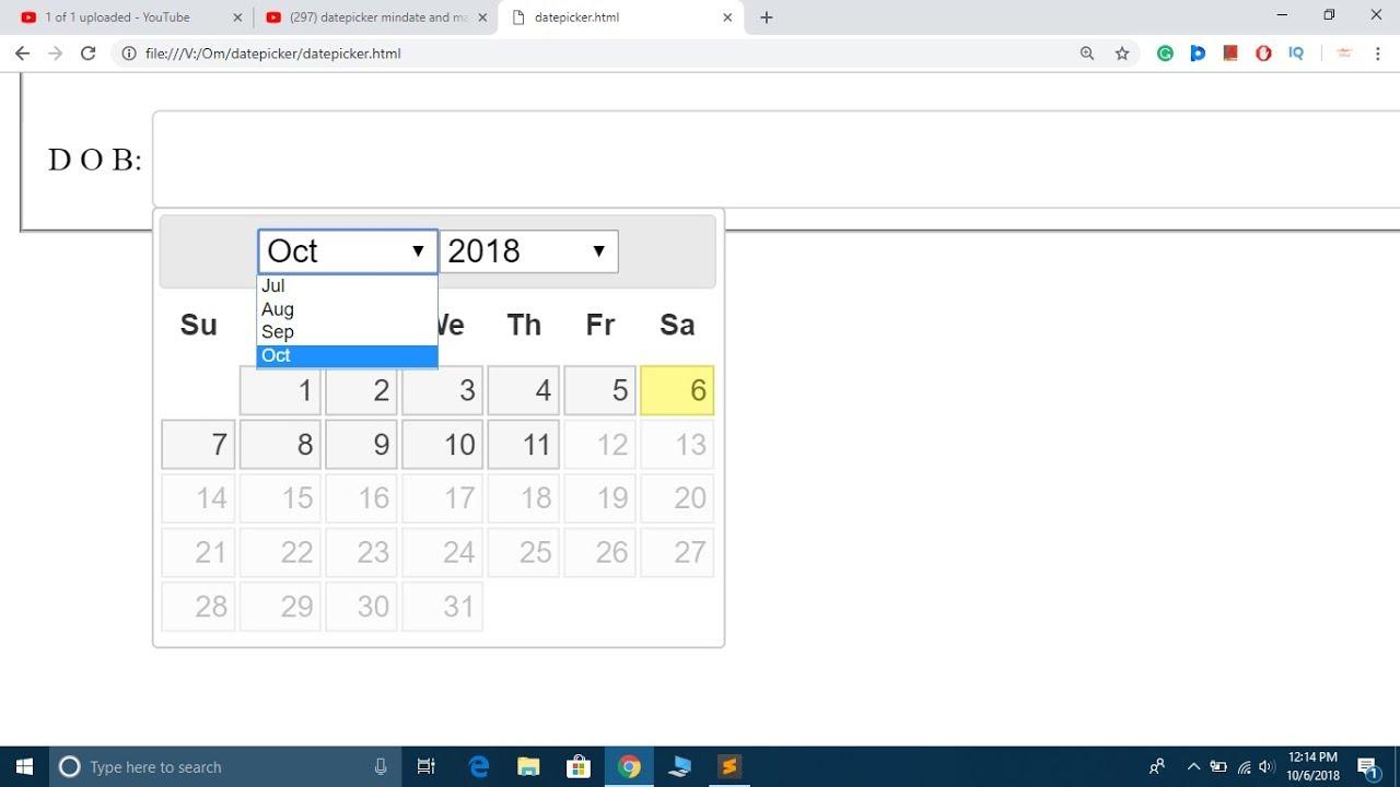 jQuery Tutorial #17: Set minimum and maximum date ...