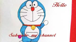 How to draw and colour in doremon| colouring book for kids| cartoons colouring doraemon drawing easy