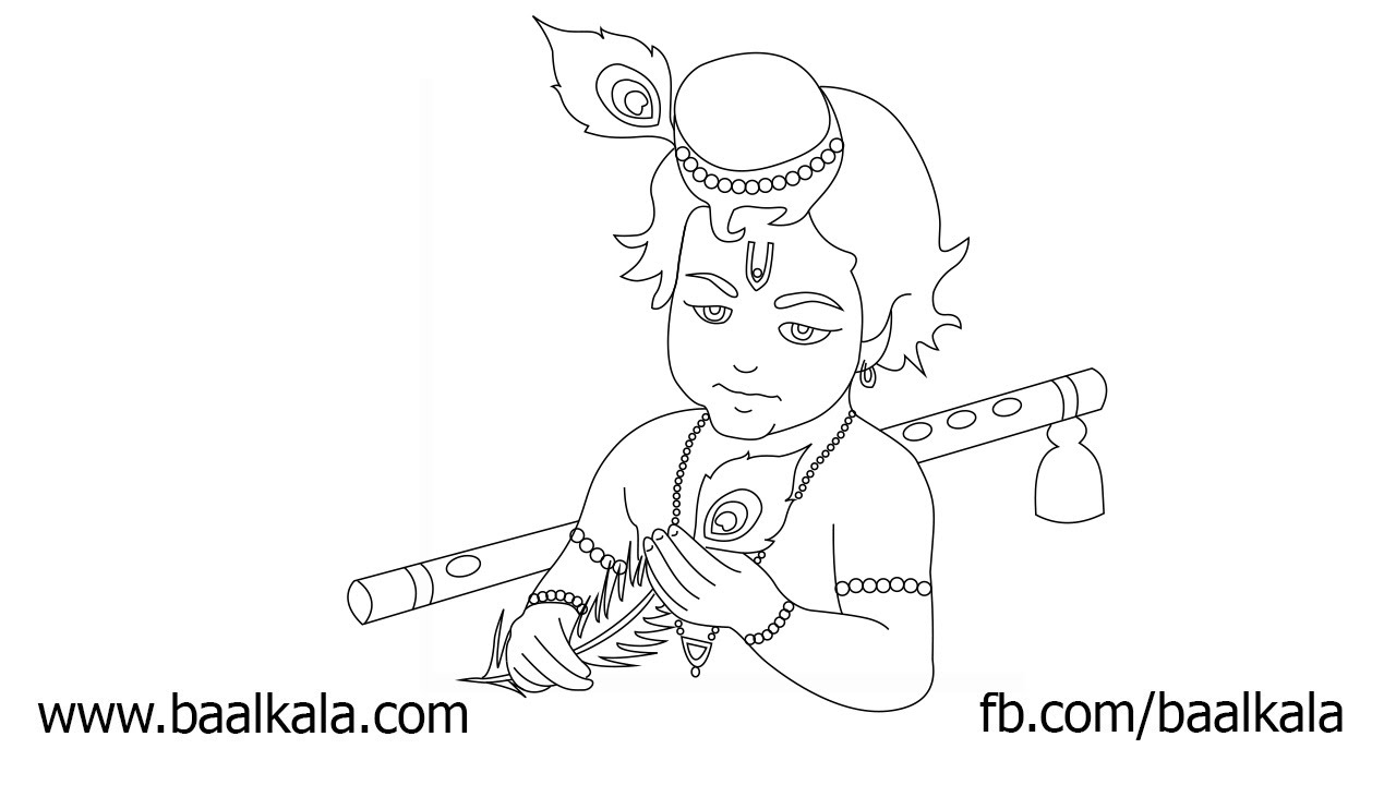 How To Draw Cute Krishna Step By Step Easy Drawing For Kids