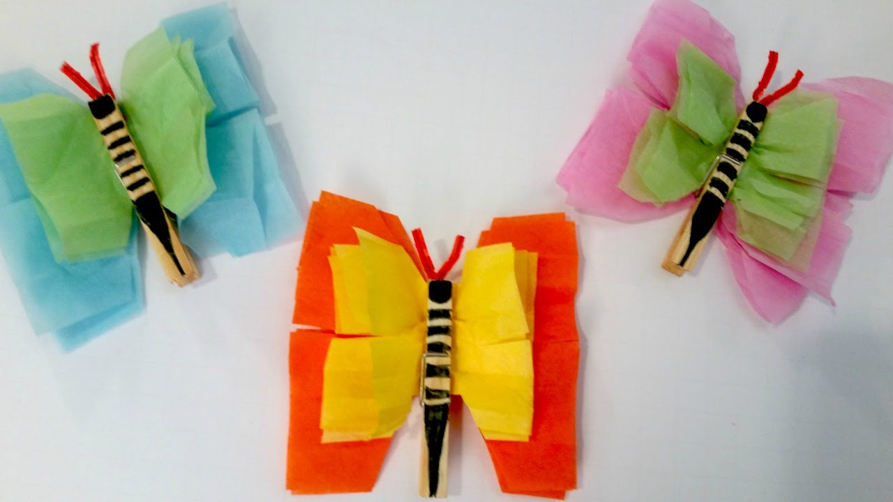 Wonderful Tissue Paper Craft Ideas For Kids Part - 3: Tissue Paper Butterflies - Easy Summer Craft For Kids - YouTube
