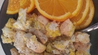 Asmr Eating/whisper - Fried Chicken And Eggs W/ Naval Orange