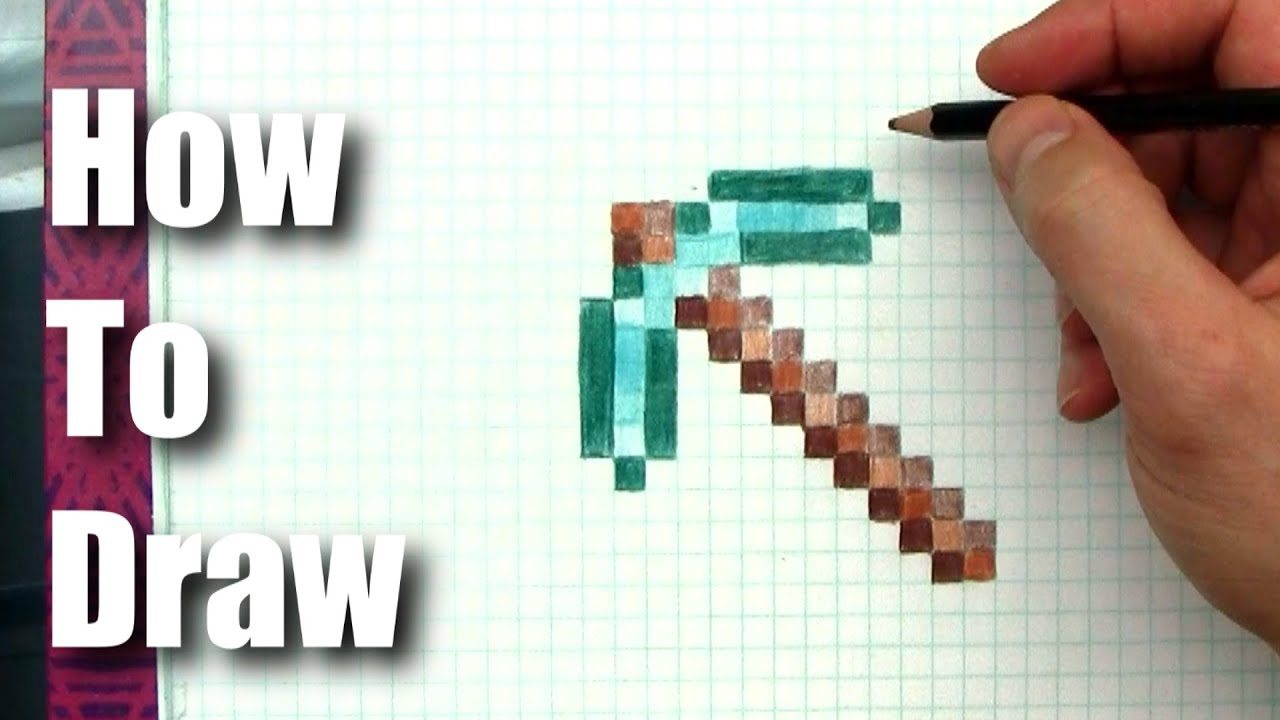 How To Draw  Minecraft Diamond Pickaxe