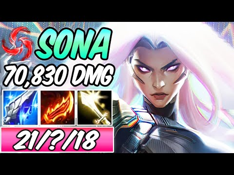 *INSANE CARRY ADC SONA ON-HIT 95% K. Participation* 70k DMG MURAMANA Build & Runes | PSYOPS SONA S+