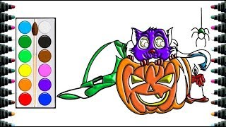How to draw Halloween cat and pumpkin for Children - Drawing and Coloring for kids - be yeu