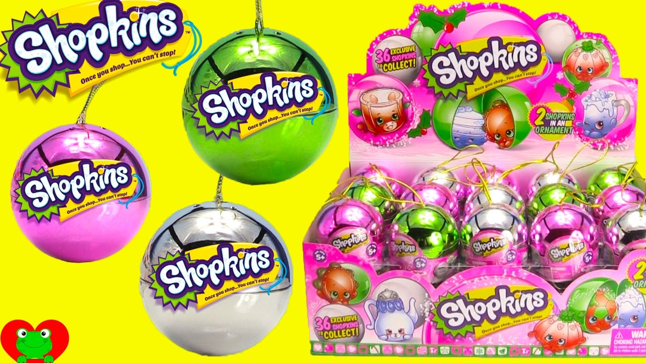 36 NEW 2016 Shopkins Christmas Ornaments Full Case Opening - YouTube