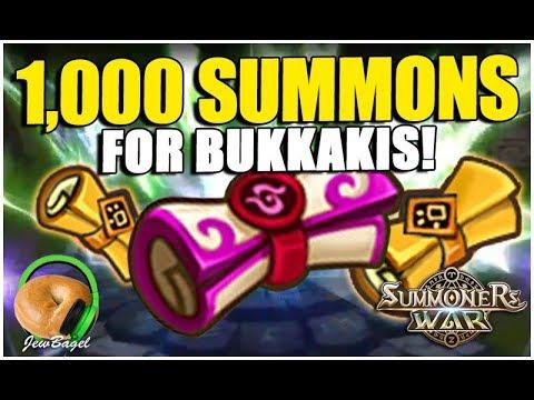 SUMMONERS WAR: 1,000 Summons for Bukkakis!! 7 LEG, 49 LD, 993 MS/ELE
