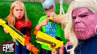 Nerf Battle: Hero Kidz Battle the Babysitter Thanos Pretend Play For Kids