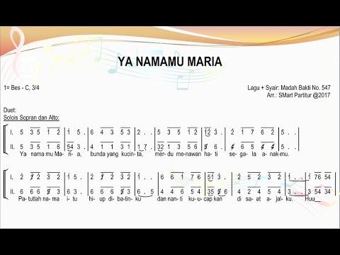 Ya Namamu Maria – Madah Bakti 547   SATB – Teks Kor Lagu Rohani Not Angka